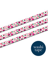 Sinikara Stationery washi tape - Red flowers (1.5cm x 10m)