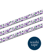 Sinikara Stationery washi tape - Violet flowers (1.5cm x 10m)