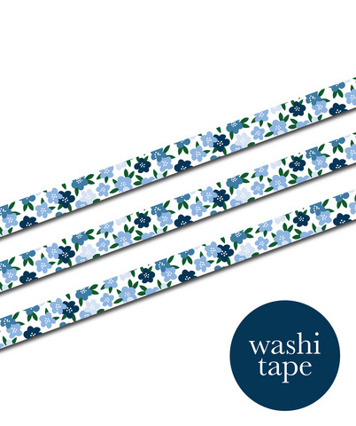 Sinikara Stationery washi tape - Blue flowers (1.5cm x 10m)