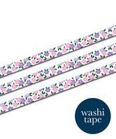 Sinikara Stationery washi tape - Violet and pink flowers (1.5cm x 10m)