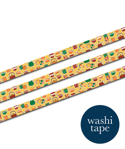 Sinikara Stationery washi tape - Retro Cups&Pots (1.5cm x 10m)