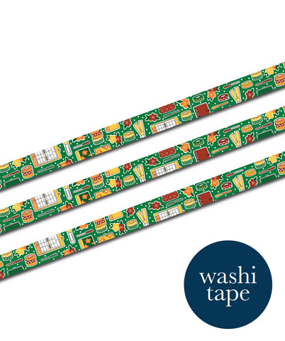 Sinikara Stationery washi tape - Retro Plannes Goodies (1.5cm x 10m)