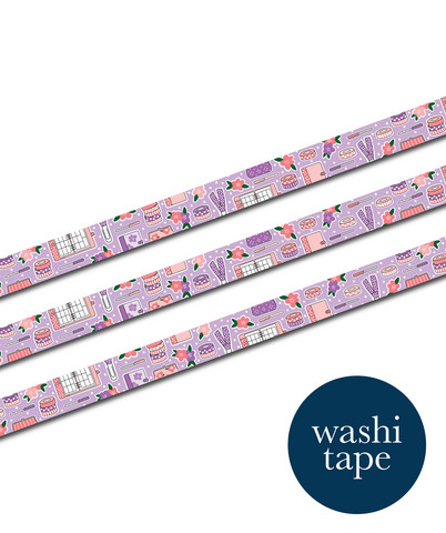 Sinikara Stationery washi tape - Pastel Plannes Goodies (1.5cm x 10m)