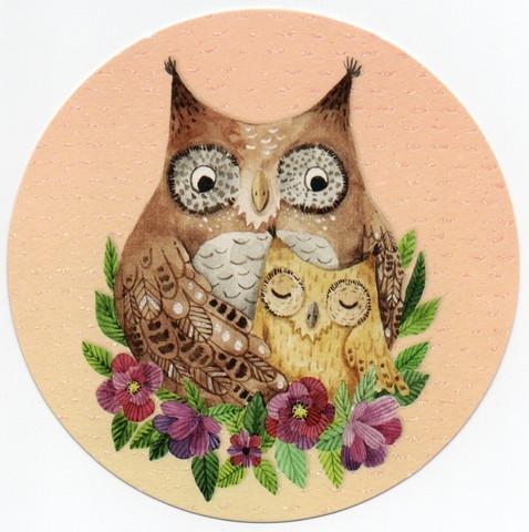Round card - Owls