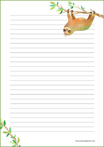 Sloth - writing papers (A4, 10s) #1