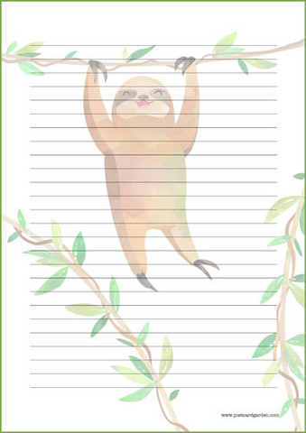 Sloth - writing papers (A5, 10s) #2