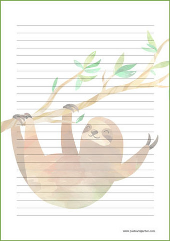 Sloth - writing papers (A4, 10s) #3
