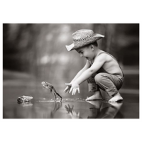 Boy and frogs