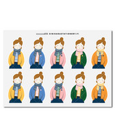 Sinikara Stationery - Sweater girls (half) Deco Sheet