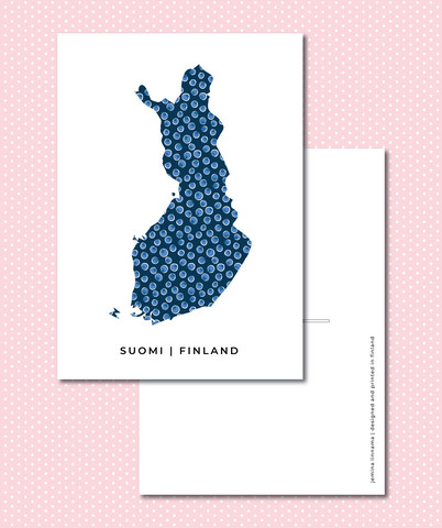 Map of Finland - blueberries (blue)
