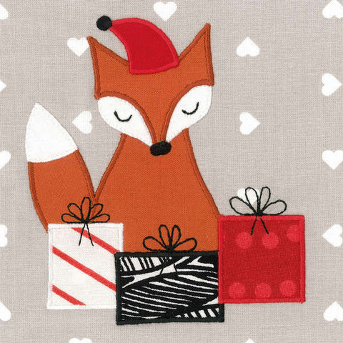 Square Christmas card - Fox (14x14cm)