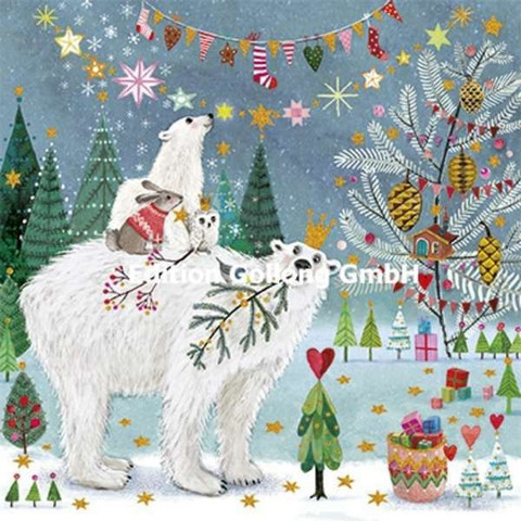 Square Christmas card - Icebear and friends (14x14cm)
