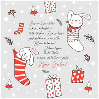 Square Christmas card - Christmas sock (14x14cm)