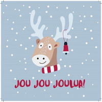 Square Christmas card - Reindeer (14x14cm)