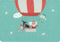Reindeer and Santa Claus in a balloon