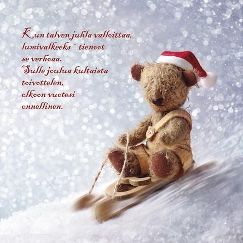 Christmas postcard - Teddy bears (square card 14x14cm) #4