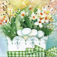 Little square card - Spring basket