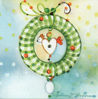 Little square card - Chick wreath