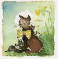 Little square card - Cats and narcissus