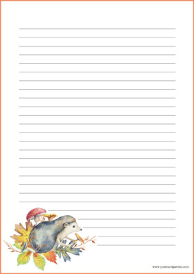 Hedgehog - writing papers (A4, 10s) #2