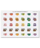 Sinikara Stationery - Coffee sticker sheet