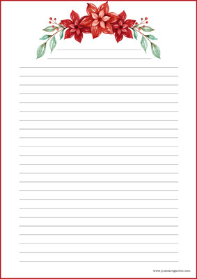 Christmas flower - writing papers (A5, 10s) #1