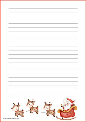 Santa and reindeers - writing papers (A4, 10s) #1