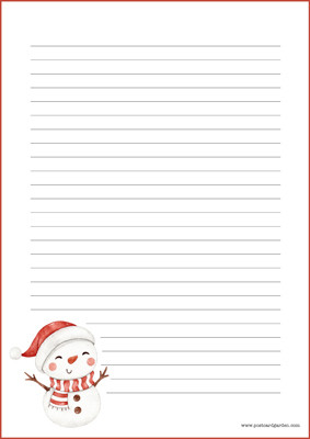 Snowman - writing papers (A4, 10s) #2