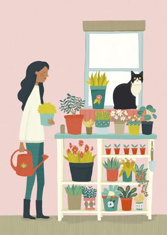 Nainen ja kukkahylly