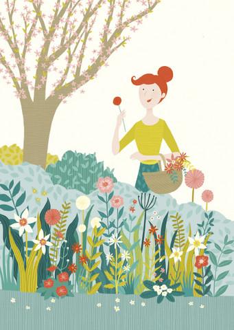 Nainen kukkia keräämässä