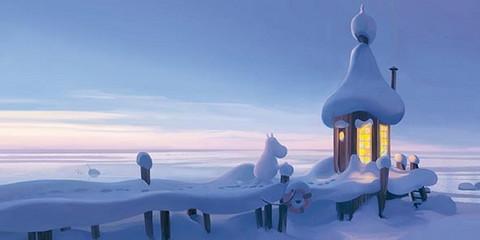 Moomin panorama snowy pier