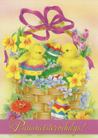Easter greetings - chicks in the basket
