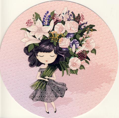 Pyöreä kortti - Tyttö ja kukkakimppu
