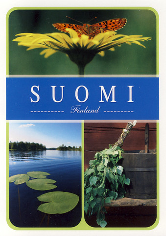 Suomi-Finland - butterfly, lake and sauna