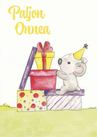 Paljon onnea - koala ja lahjat