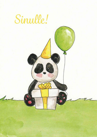 For you - panda, present and balloon