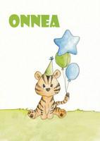 Congratulations - tiger and balloons