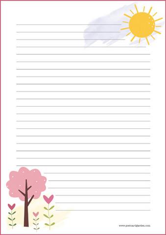 Aurinko ja puu - kirjepaperit (A4, 10s) #1
