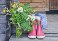 Flower vase and boots