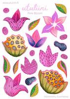 Utuliini - Pink bloom (tarra-arkki)