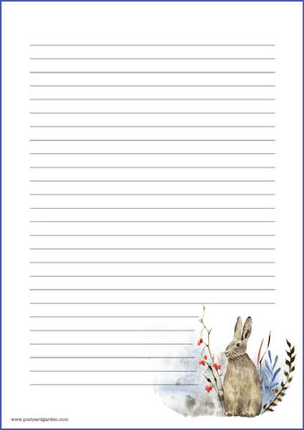 Rabbit - writing papers (A5, 10s) #5