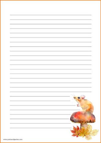Sieni ja hiiri - kirjepaperit (A4, 10s) #1