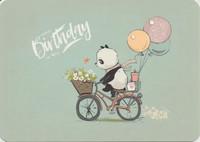 Birthday panda on a bike