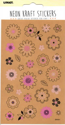 Neon craft stickers - flowers (10x16cm)