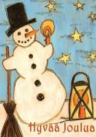 Joulukortti - Lumiukko