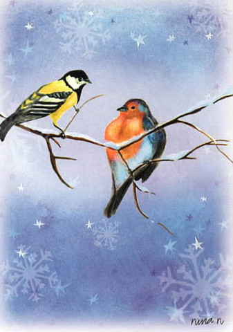 Christmas postcard - Birds