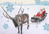 Christmas postcard - Santa and reindeer