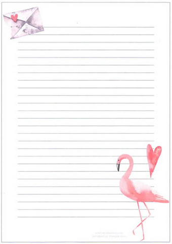 Flamingo - writing papers (A5, 10s) #1