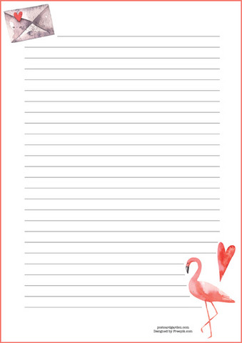 Flamingo - writing papers (A4, 10s) #1