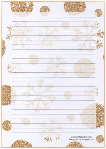 Golden snowflakes - writing papers (A5, 10s)
